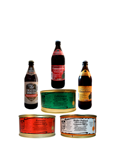 Fränkisches Brotzeit Geschenkset Wurst und Bier