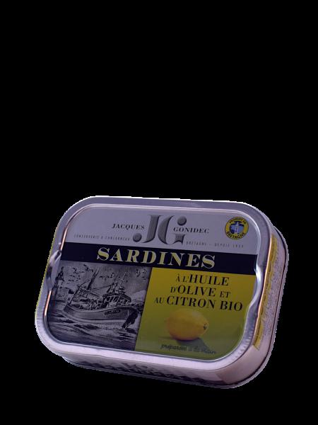 Jacques Gonidec Sardinen in BIO Olivenöl und Zitrone (115g)